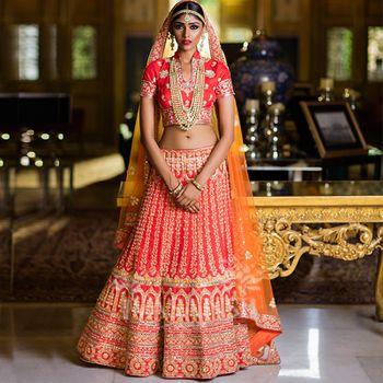 Bright red and orange bridal lehenga