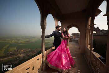 Destination pre wedding shoot couple on hill