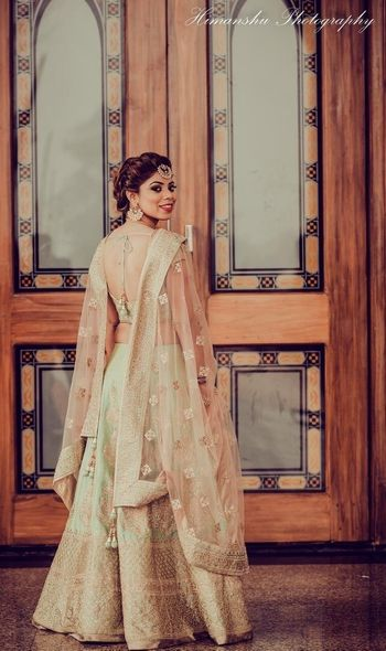Light green lehenga for engagement