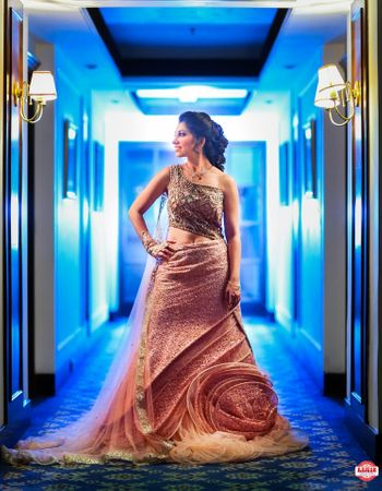 Lehenga with off shoulder blouse and attached dupatta