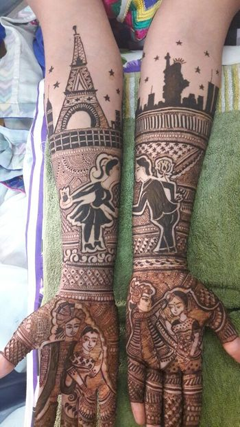 Personalised Paris theme mehendi design