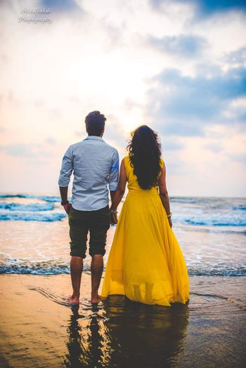 Pre wedding or honeymoon photo on the beach
