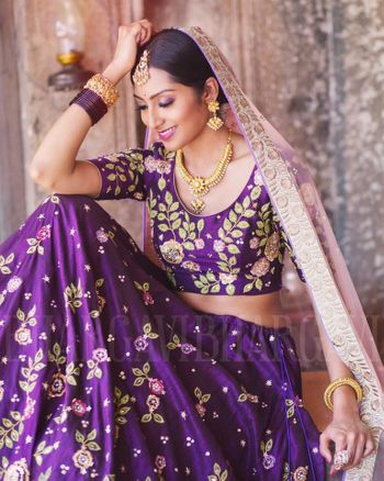 Photo of Purple silk lehenga with pink dupatta