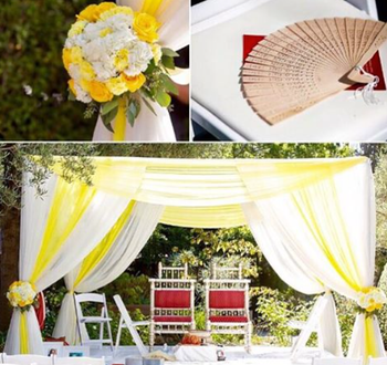 yellow and white mandap