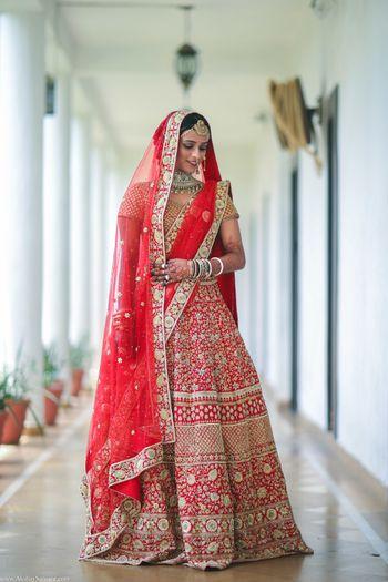 Modern floral embroidery bridal lehenga