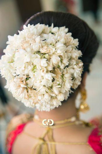 Bridal bun with gajra flowers