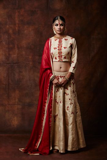 Photo of off white lehenga