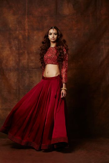 Photo of red lehenga. crop top lehenga. raw silk lehenga