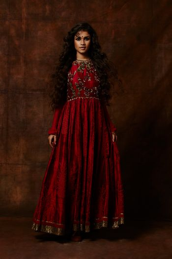 deep red anarkali