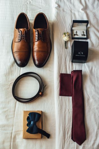 Groom getting ready shot idea with things laid out