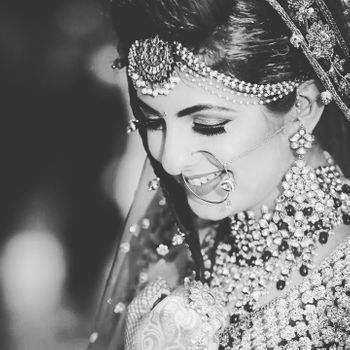 Black and white bridal portrait smiling bride shot