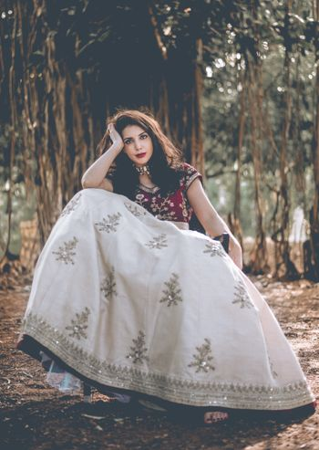 White and maroon lehenga for wedding or engagement