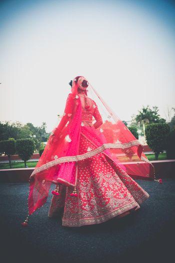 Pretty bridal lehenga shot from behind