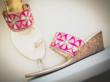 Hot pink and gold bridal shoes