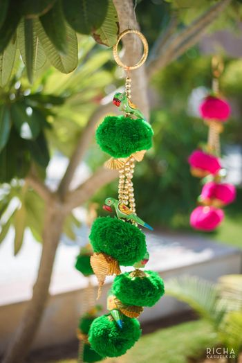 Photo of Mehendi decor idea with parrot hangings
