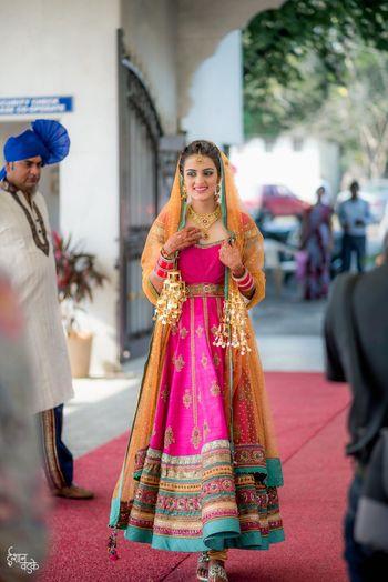 Multicolour bridal Anarkali