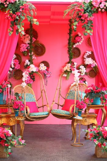 Photo of Bright floral mehendi swing decor idea