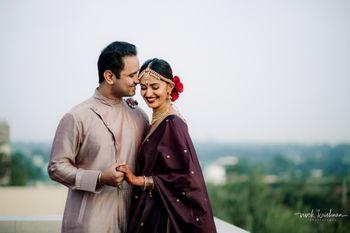 Post wedding happy couple shot