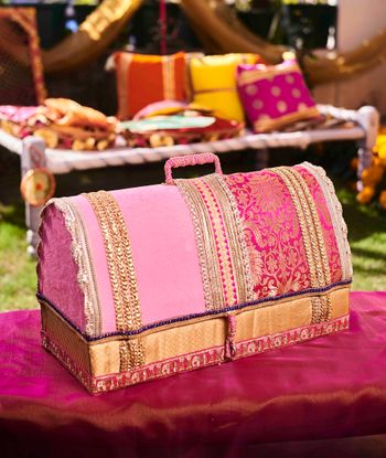 Bridal trousseau trunk with gota work