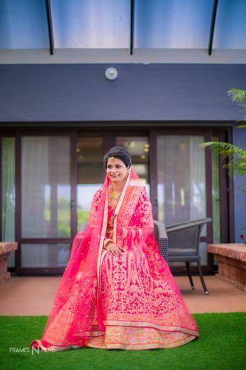 Bright pink and orange bridal lehenga with double dupatta