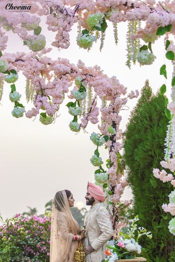 Photo of Light pink pastel floral canopy for morning wedding
