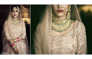 Photo of Contrasting bridal jewellery with pastel lehenga