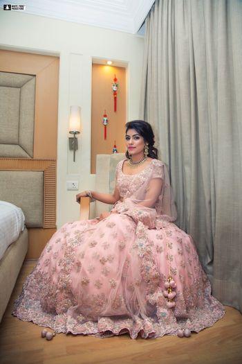 Photo of Floral pastel engagement lehenga