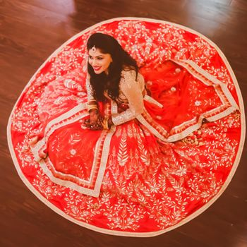 Photo of coral red lehenga