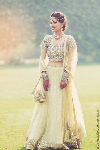 Cream and Gold Sangeet Lehenga