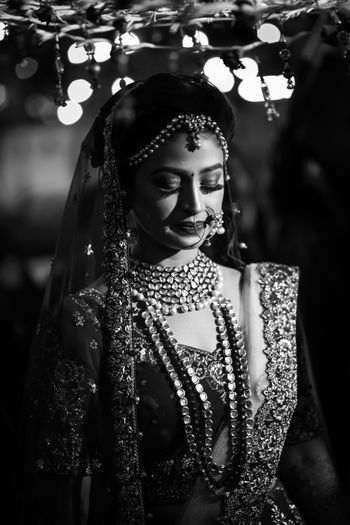 Black and white bridal entry portrait