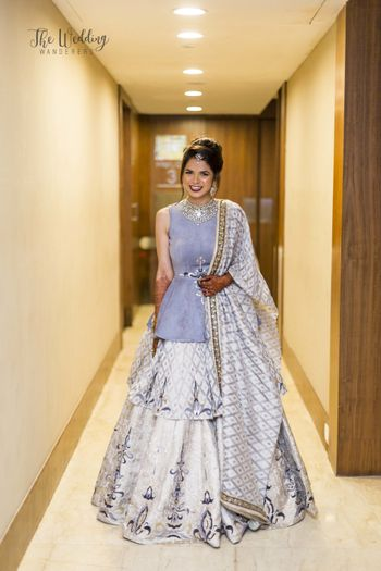 Photo of Silver and lavender peplum lehenga