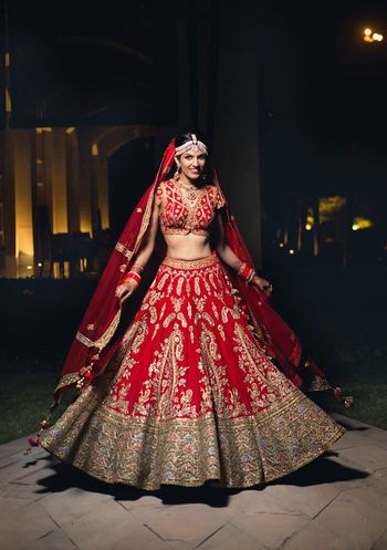 Photo of Red and grey bridal lehenga with unique blouse