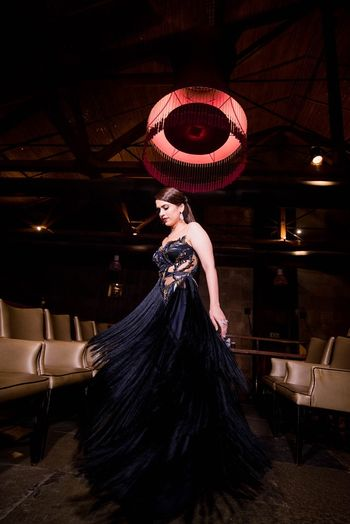 Black strapless fringe gown