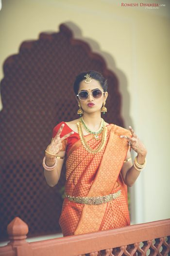 South Indian bride showing swag