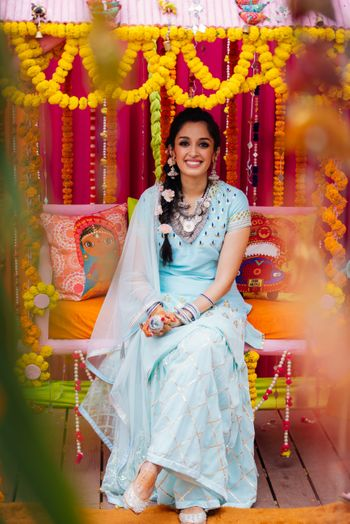 Photo of Mehendi light blue lehenga