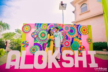 Mehendi photobooth with wedding hashtag