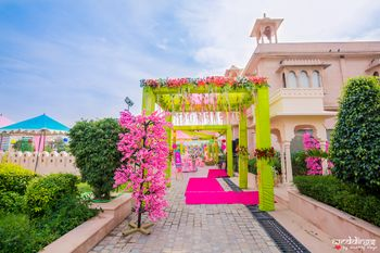 Lime green and pink mehendi entrance decor ideas