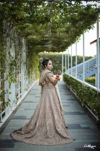 Offbeat colour bridal lehenga with train