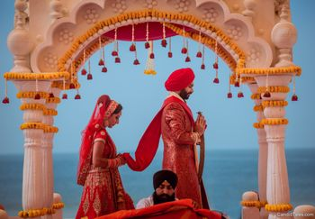Simple mandap couple marriage shot