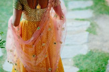 Bridal light pink net dupatta shot