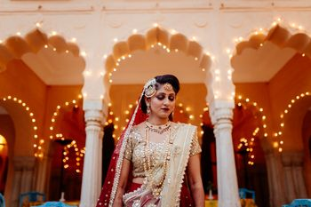 Bridal portrait with fairy lights