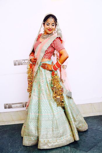 Photo of pale blue gota patti lehenga