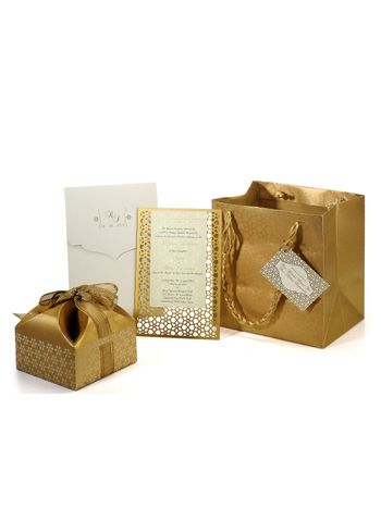 Photo of gold gift box invites