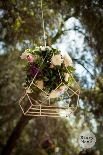 Hanging floral arrangement in geometric decor