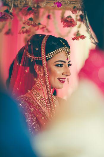 Bridal portrait while entering