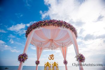 Circular pastel floral mandap