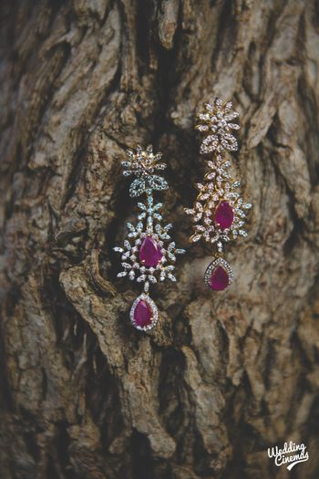 Diamond and rubies earrings