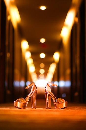Beautiful metallic rose gold platform heels for bride to be