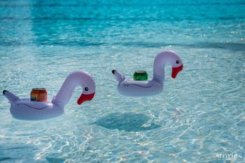 Cute and unique flamingo themed pool party drink floats