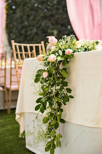 Stunning rose and greenery floral table runners for table arrangements